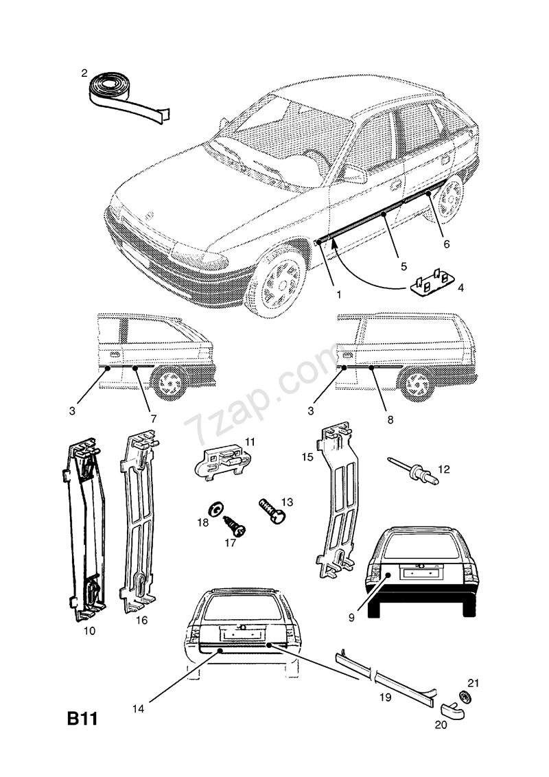 Opel Afdækning, bagklap - Astra F