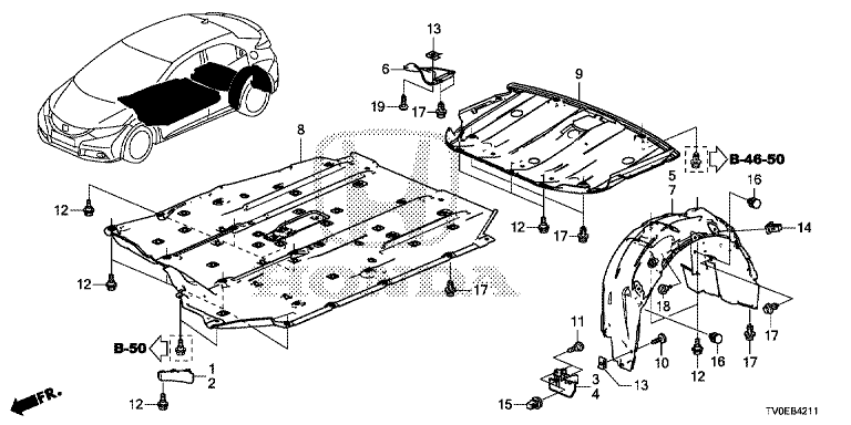 Honda Afdækning, bagagerumsbund - Civic IX